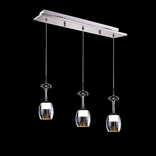 Naiyn Lámpara LED Moderna de Moda de 3 Luces Lámparas de Copa de Vino de 15 W Lámpara Colgante Luz Colgante de Creatividad del Norte de Europa para Cocina Isla Sala de Estar Lámpara de suspensión