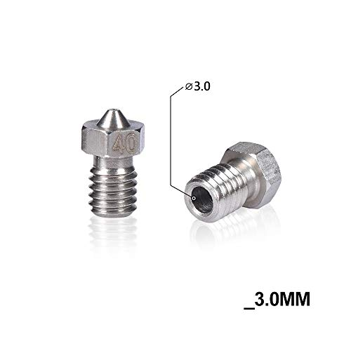 THNQ 3D Printer Parts V6 V5 Nozzle roestvrij staal Nozzle M6 Screw Thearded 0.25mm / 0.4mm / 0.8mm for 1,75/3,0 J-head hotend Extruder (Color : 3.0MM, Size : 0.4MM)