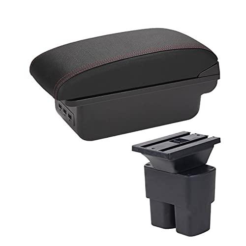 para Nissan NV200 Caja De Reposabrazos Piezas De Actualización Interior De Coche Reposabrazos Caja De Almacenamiento Accesorios Piezas De Adaptación = LED USB Reemplazar (Color : B1 Black Red 3USB)