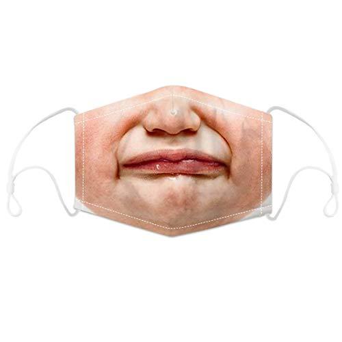 AUBIG Unisex Gesichtsschutz Stoff 3D-Druck 2pc Filter Gesichtsbedeckung Stoff Herren Damen Geeignet zum Ausgehen Stil 19