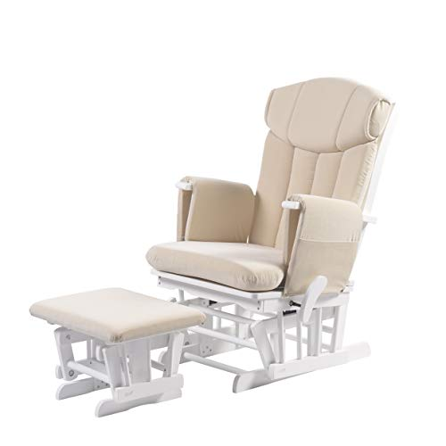 Kub Chatsworth Nursing Glider and Footstool (Oatmeal) - Breastfeeding Chair, Lounge Chair, Smooth Gliding Motion, Easy to Assemble, Solid Hardwood Base