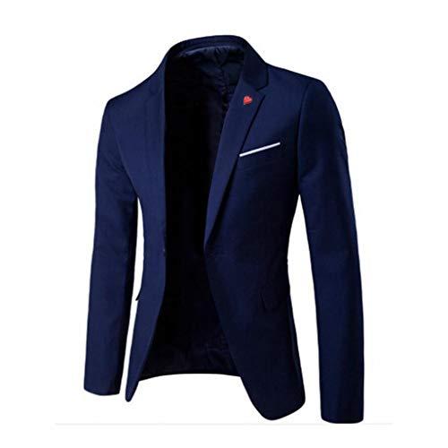 Blazer Costume Homme Slim Fit Formal Veste de Costume Hommes Veste De Costume Casual Elegant Blazer Un Bouton Blousons Manteaux Slim Fit Smoking avec Poche Noir, Marine