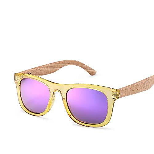 Q4S Gafas De Sol Polarizadas Masculinas Y Femeninas con Montura Y Brazo De Madera,Amarillo