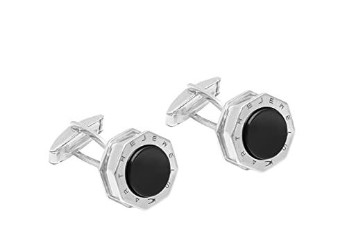 K JEWELS - Octagon, achteckige Herren-Manschettenknöpfe aus 925er Silber, Onyx, Elegance Line Silber 925 und Onyx