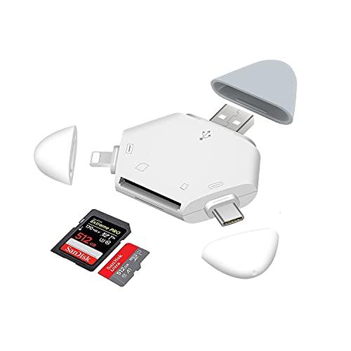 Hearkey 3 in 1 Lettore Schede SD Micro SD, Adattatore SD per iPhone Type C USB, Lettore Schede di Memoria per Apple, iPad, iPad Pro,iPod, Android Smartphone, Huawei,Samsung, PC, Macbook Pro Air