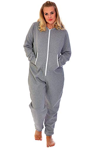 Nouvelle Collection Unisex Hooded Zip Onesie Silver XXXL