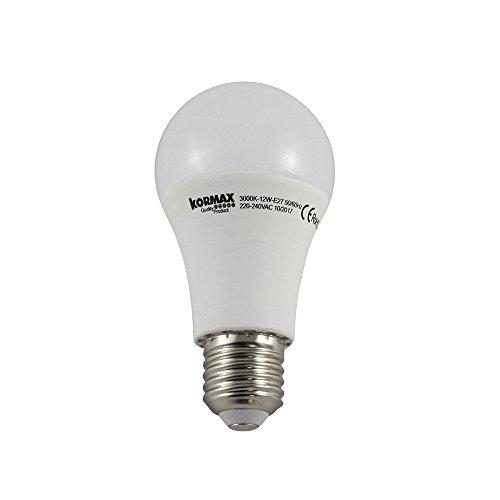 Kormax Bombilla LED Luz Cálida E27, 12 W, Blanco