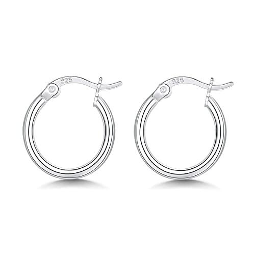 WHFY aretes para mujer set de aros de plata baratos para mujer, pendientes de aro de plata de ley 925, pendientes de aro para dormir pequeños, oreja de aro con bisagras de plata, exquisita