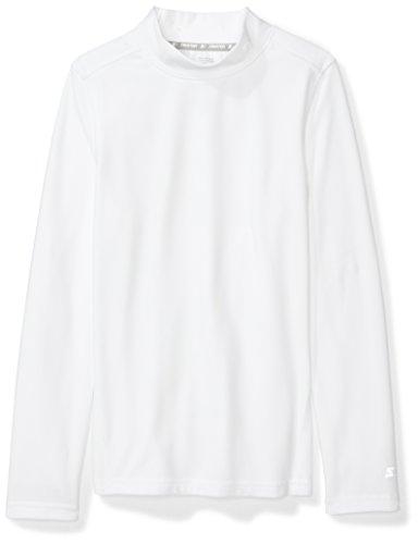 Starter Boys' Long Sleeve Mock Neck Athletic Light-Compression T-Shirt, Amazon Exclusive, White, M (8/10) Boys Clothes White Turtleneck
