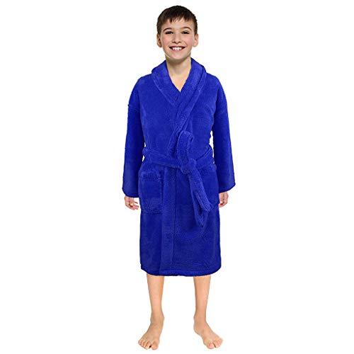 Mamum Peignoir pour Enfants Petit Garçon Fille avec Capuche Coton Robe de Chambre Serviette Doux Éponge de Coton 3-12 Ans (Bleu, S)