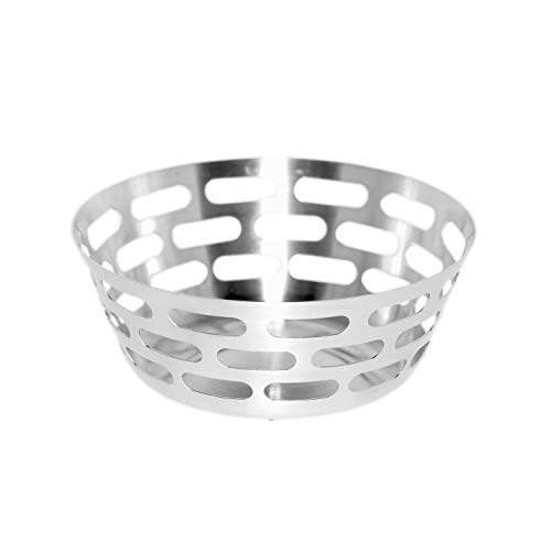 Service Ideas SB-75 Bread Basket, Stainless Steel, Small, Brushed Finish
