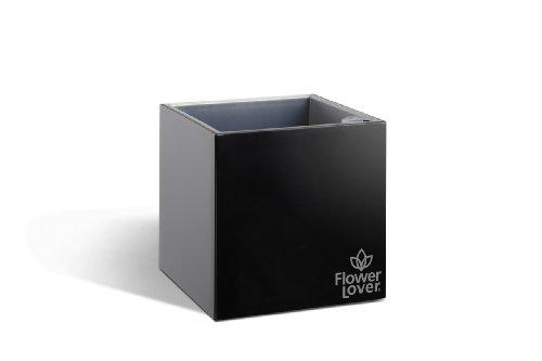 Flower lover - Vaso Cubico 14X14X14 Cm, da Interno Ed Esterno con Sistema D'Irrigazione, Colore: Nero Lucido