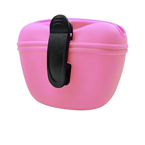 Amazon Brand – Umi Silicone Dog Treat Pouch with Clip,Portable Dog Food Container for Training,Convenient Magnetic Buckle Closing and Waist Clip,Food Grade Silicone BPA Free - Pink