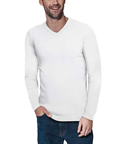 XRAY V-Neck Sweater for Men Slim Fit Ultra Soft Fitted Fashion Pullover Mens Sweater for Casual Or Dressy Wear Off White