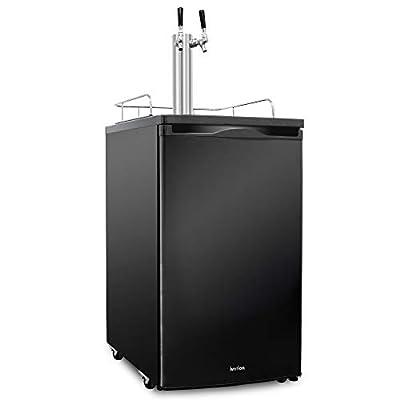 Ivation Full Size Kegerator | Dual Tap Draft Beer Dispenser & Universal Beverage Cooler | Mounted CO2 Cylinder, Temperature Control, Drip Tray & Rail | Fits 1/2 Keg, 1/4 Pony Keg, (2) 1/6 Kegs (Black)