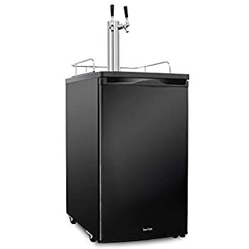 Ivation Full Size Kegerator   Dual Tap Draft Beer Dispenser & Universal Beverage Cooler   Mounted CO2 Cylinder Temperature Control Drip Tray & Rail   Fits 1/2 Keg 1/4 Pony Keg  2  1/6 Kegs  Black