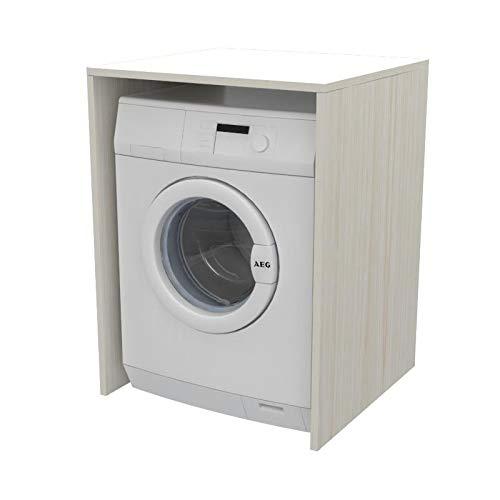 Ve.Ca. Mobile Coprilavatrice a giorno in legno, copri lavatrice/asciugatrice, diversi colori, anche su misura, lavanderia bagno arredo casa (Bianco larice)