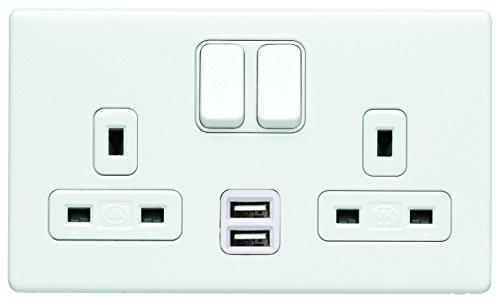 Aspect 13 AMP 2 Gang DP Dual Earth porcelana blanca interruptor enchufe enchufe enchufe con 2 x puertos de carga USB e inserto blanco