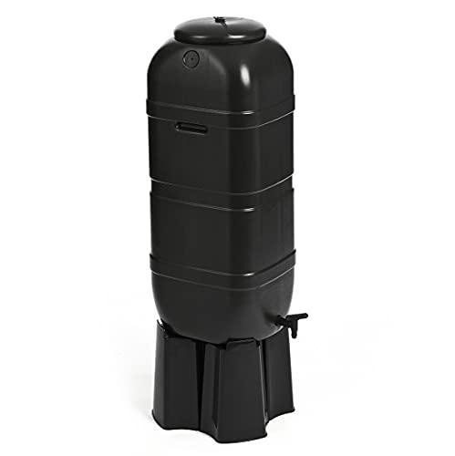 Kreher Regentonnen Wassertonnen mit Standfuss, Hahn und Füllautomat in Schwarz in verschiedenen Größen (wählbar) (100 Liter)