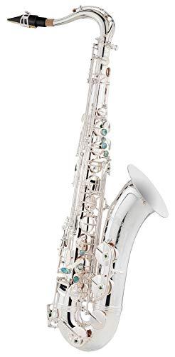 Lechgold LTS-20S Tenor-Saxophon - aus versilbertem Messing - Kräftiger, runder Klang - Inklusive ESM Mundstück aus deutscher Fertigung und Leichtkoffer mit Rucksack-Garnitur - versilbert