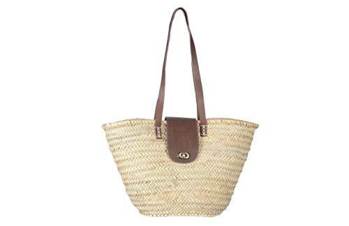 Afrikan Bags - Bolso Capazo de Palma | Bolso de Palma de Base Oval con Asa Larga y Solapa de Cuero - 45 x 16 x 27 cm