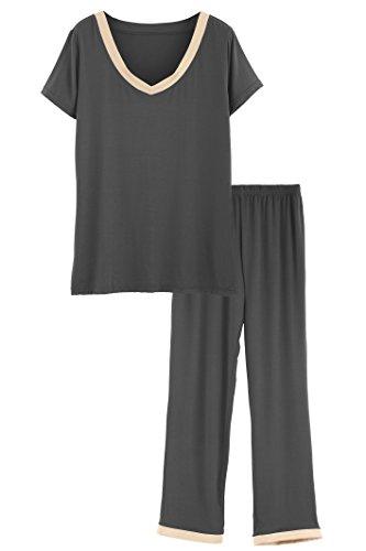 Latuza Women's V-Neck Short Sleeves Pajama Set M Gray