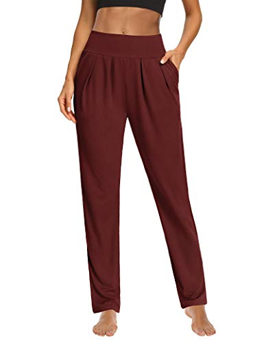 Sarin Mathews Womens Yoga Pants Pleated Wide Leg Loose Comfy Lounge Pants Workout Sweatpants for Women with Pockets Burgundy L