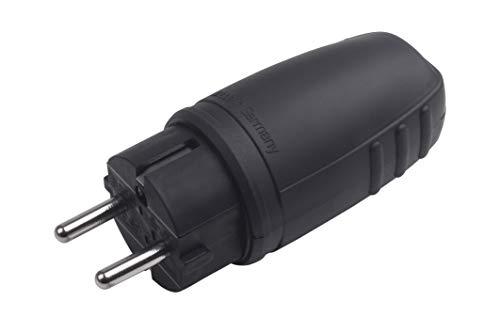 Meister Schutzkontakt-Stecker - Gummi/Kunststoff - schwarz - 250 V - 16 A - Maximaler Kabelquerschnitt 2,5 mm² - IP44 Außenbereich - Zentrale Einführung / Schuko-Stecker mit Knickschutz / 7421420