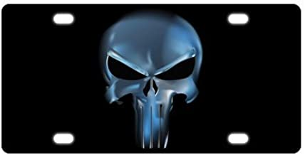4 Holes YiiHaanBuy The Punisher On American Flag Background Novelty License Plate Decorative Vanity Car Tag 6 X 12 Inch