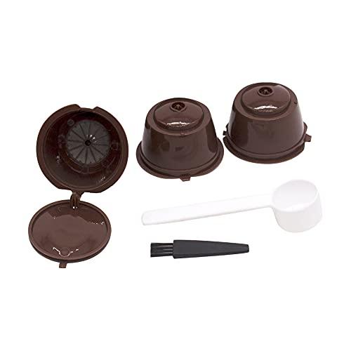 LITU 3Pcs Cápsulas de Café Cápsulas Reutilizables con Cuchara y Cepillo Filtros de Café Recargables Accesorios de Café para Hogar Oficina Cafetería