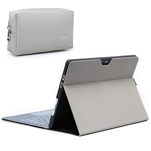 HYZUO Case Cover for Surface Pro 7/ Pro 6/ Pro 5 2017/ Pro 4 Folio Stand with Stylus Holder for Surface Pro 6/5/4 with Zipper Pouch, Compatible with Type Cover Keyboard, Light Grey(Microfiber Leather)
