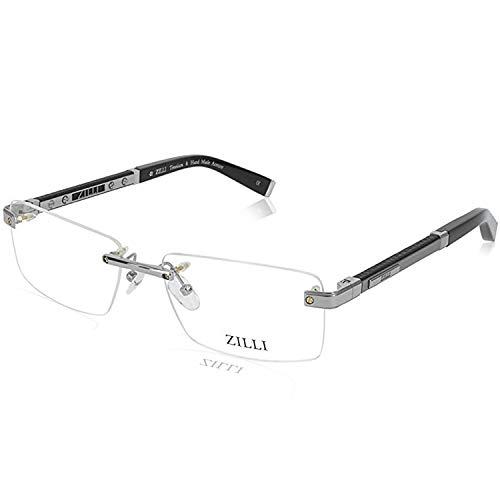 ZILLI 60013 C02 Eyeglasses for Men Rimless Titanium Eyewear Acetate Frame