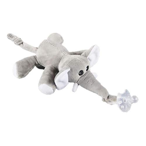 Bebé elefante Chupete Chupete portafusibles suelto suave peluche juguetes de peluche animales con clip cola para bebés de silicona chupete de bebé 1PC Producto