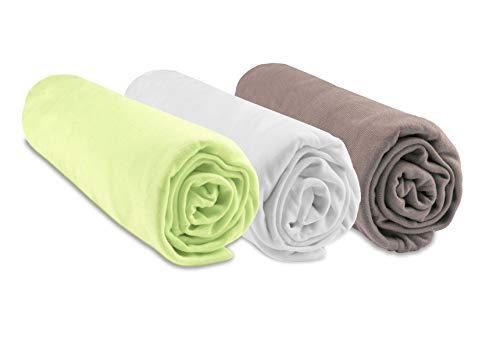 Lot de 3 Draps housse Bambou pour lit bébé 60x120 cm - Anis Blanc Taupe (marque Easy Dort)