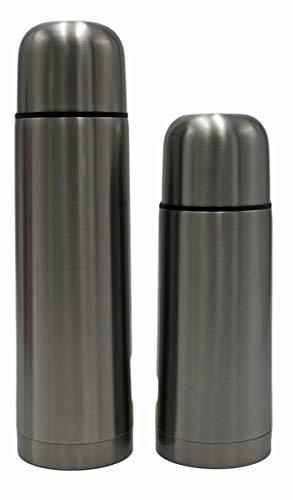 2-er Set Edelstahl Isolierflasche | 350 & 500 ml | doppelwandig | Schnellstopp-Verschluss | Trinkflasche | Wasserflasche | Isolierkanne | Thermoskanne | Thermoflasche (Silber)