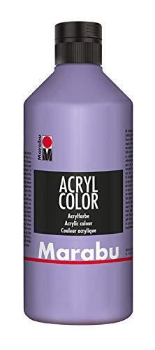 Marabu 12010075007 - Acryl Color lavendel 500 ml, cremige Acrylfarbe auf Wasserbasis, schnell trocknend, lichtecht, wasserfest, zum Auftragen mit Pinsel und Schwamm auf Leinwand, Papier und Holz