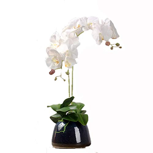Fake Flower Silk Phalaenopsis Bloemstuk Kunstmatig Orchideebloemen met Black Vase, Wedding Party Eettafel Centerpiece Decor