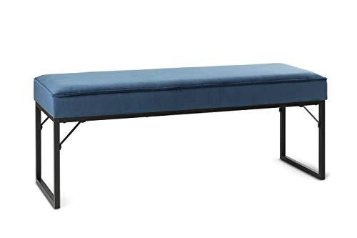 LIFA LIVING Sitzbank mit Samtbezug und Polsterung, Polsterbank für den Innenbereich, Schlafzimmer, Wohnzimmer, Flur, aus Samt, Holz & Metall, für 2 Personen