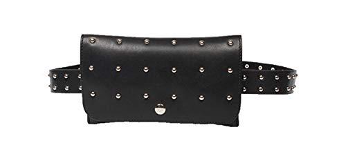 jnday Mujer Joven Cinturón Funda Piel Lisa Riñonera con Remaches Cintura pequeña riñonera Resistente al Agua a la abrasión Bandolera Negro Negro