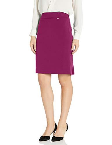 Tahari ASL Women's Double-Weave Pencil Skirt, Magenta, 4