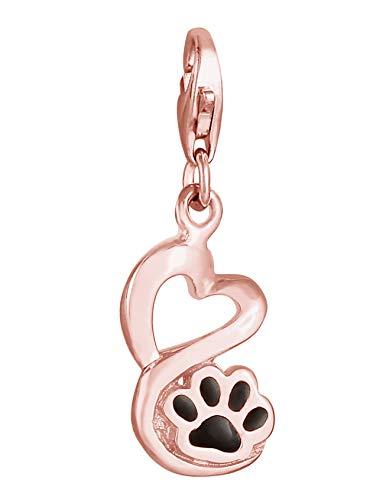 Nenalina Colgante con forma de huella de perro, de plata de ley 925, chapado en oro rosa, para...