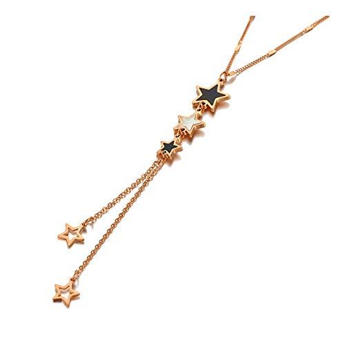 yqs Collar Titanio Acero Inoxidable acrílico & Concha Estrella Gargantilla Collares para Las Mujeres de Moda Bohemia Encanto Colgante Collar RoseGoldColor