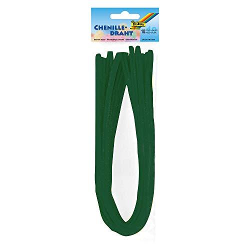 folia 77858 Alambre de chenilla, 10 unidades, color verde abeto de 8 mm de diámetro y 50 cm de largo, ideal para niños para manualidades y diseño de animales, figuras y otras formas