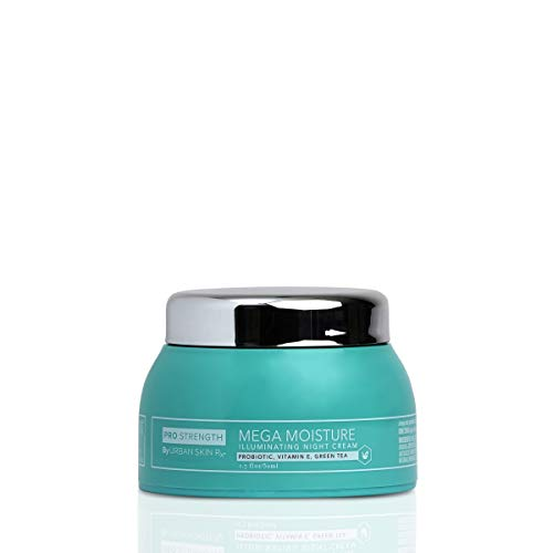 Urban Skin Rx Mega Moisture Illuminating Night Cream   Helps Prevent Dry Skin, Locks In Moisture, and Combats Signs of Aging, Formulated with Probiotics, Vitamin E, Green Tea, Shea Butter   1.7 Oz