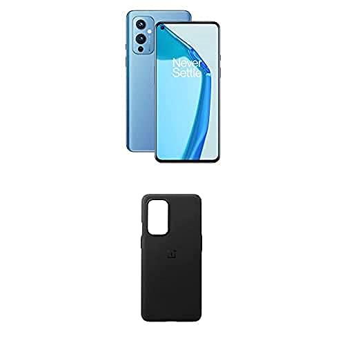OnePlus 9 5G Smartphone Senza SIM con Fotocamera Hasselblad, 8 GB RAM + 128 GB, Blu (Arctic Sky) + Sandstone Bumper Custodia, Nero [Esclusiva Amazon]