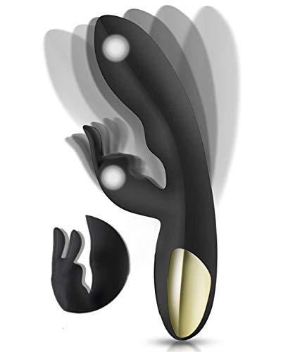 Masajeador para Mujeres y Pareja,Potente Masajeador Motor Doble Rabbit 360 ° Rotación 100% Impermeable 10 Modos de Vibración Fuerte Silicona
