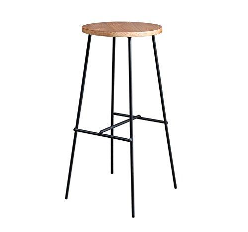 LWWOZL Barhocker, Bar Modern Einfaches Massivholz Eisen Hoher Hocker Drehen Cafe Counter Hohe Rückenlehne Woody Creative Tall Frontschreibtisch Küchenstuhl Europäische Höhe 75cm