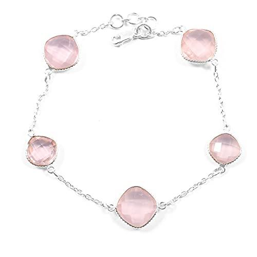 Rose Quartz Gold Bracelet, Rose Pink Bracelet, Rose Quartz Bangle Bracelet, Love Bracelet, Gold Plated Chain, Natural Stone Bracelet, 18K Gold Plated Bracelet, Bezel Set Bracelet, Dainty bracelet