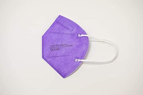 YUNYIFU FFP2 Maske violett | Mundschutz Maske FFP2 | ISO + CE zertifiziert | Atmungsaktiv | 10 Stück einzeln verpackt (Violett)
