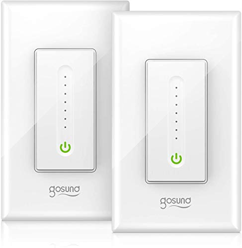 Smart Dimmer Switch, Gosund Smart WiFi Light Dimmable Switch Works with Alexa Google Home, with Remote Control Schedule, Neutral Wire Needed, Single-Pole, No Hub Required, Easy Installation (2 Pack)